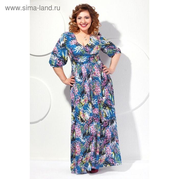 Платье женское, размер 56, цвет голубой П-421