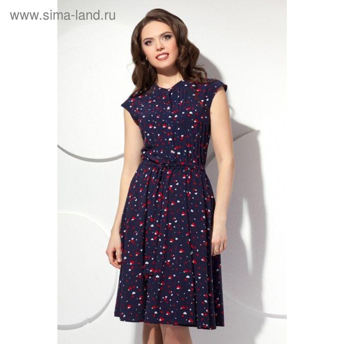Платье женское, размер 46, цвет тёмно-синий П-423