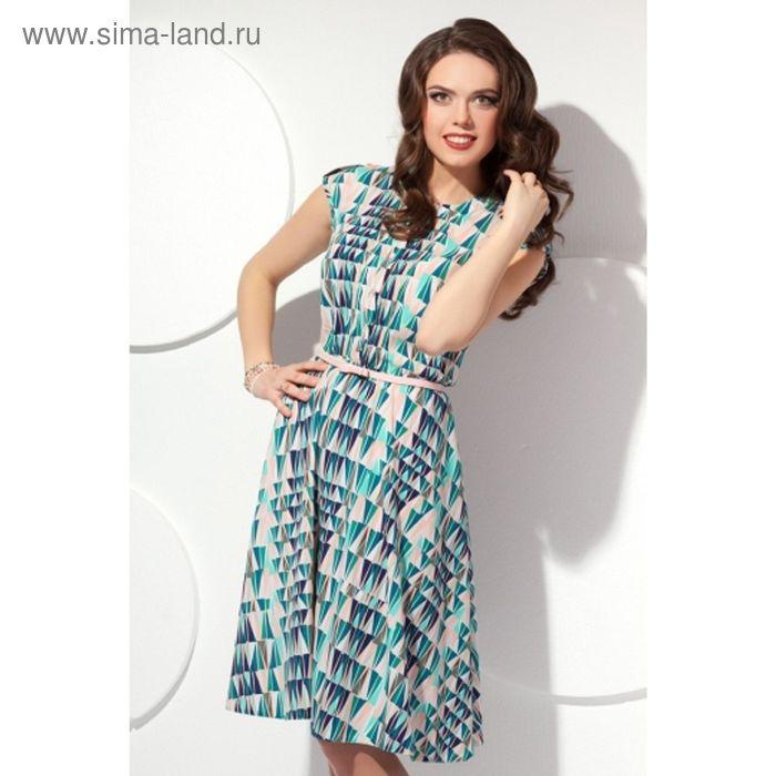 Платье женское, размер 52, цвет бирюза+беж П-423/2