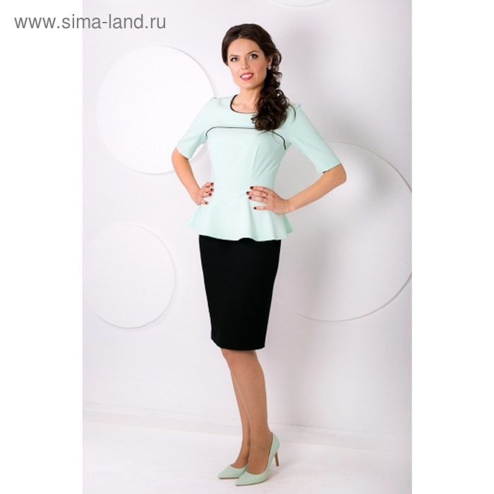 Блуза женская, размер 50, цвет ментоловый+чёрный Б-155