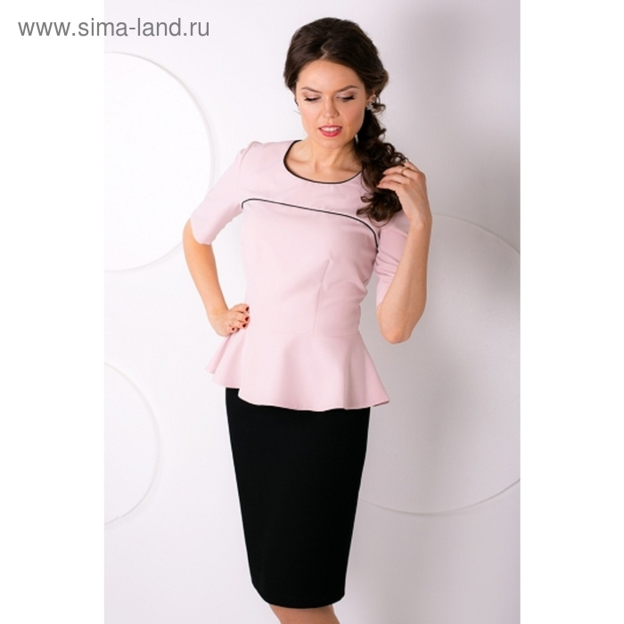 Блуза женская, размер 50, цвет пудровый+чёрный Б-155/1