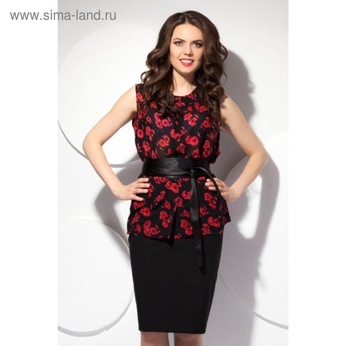 Блуза женская, размер 50, цвет чёрный+красный Б-127