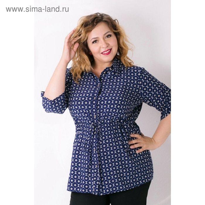 Блуза женская. размер 52, цвет синий+жёлтый Б-125/3