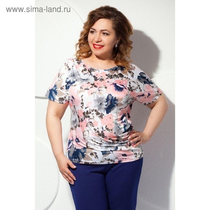 Блуза женская, размер 56, цвет розовый+серый Б-129/1