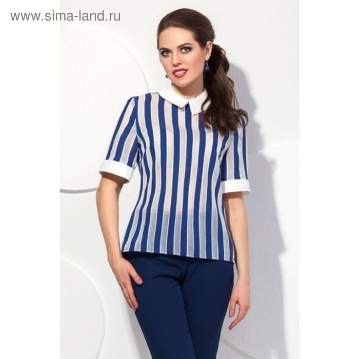 Блуза женская, размер 48, цвет синий + молочный  Б-142/1