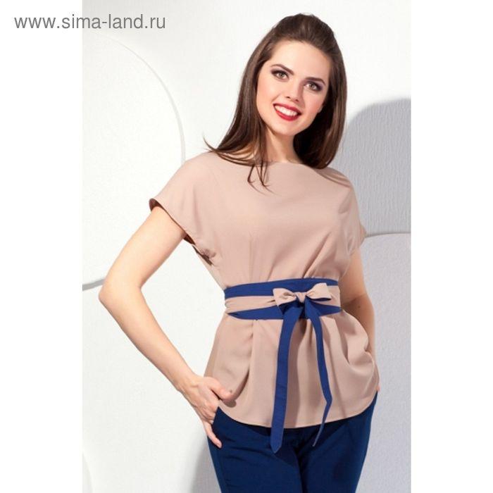 Блуза женская, размер 52, цвет бежевый + синий  Б-143/2
