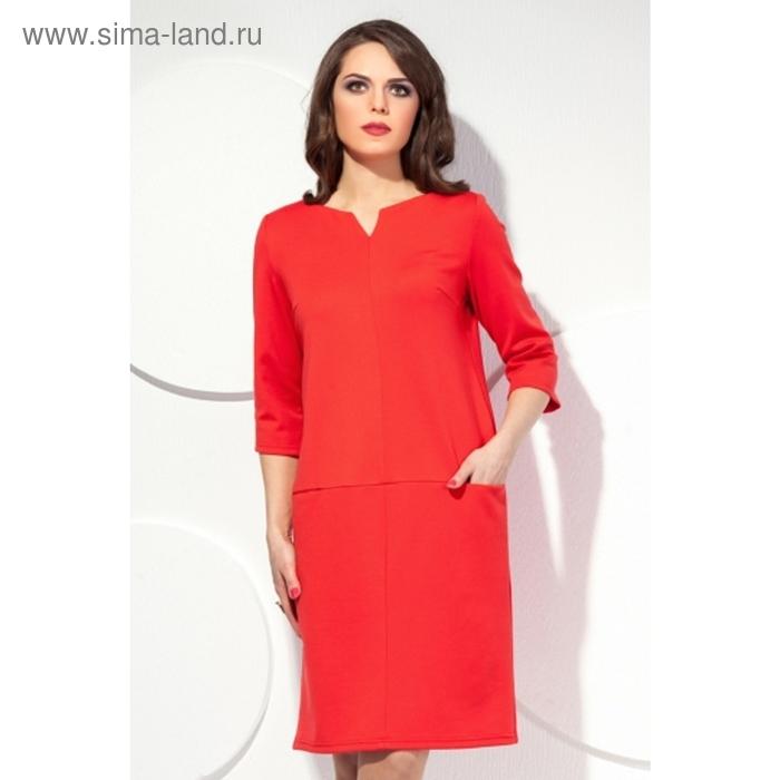 Платье женское, размер 48, цвет коралл П-415/1