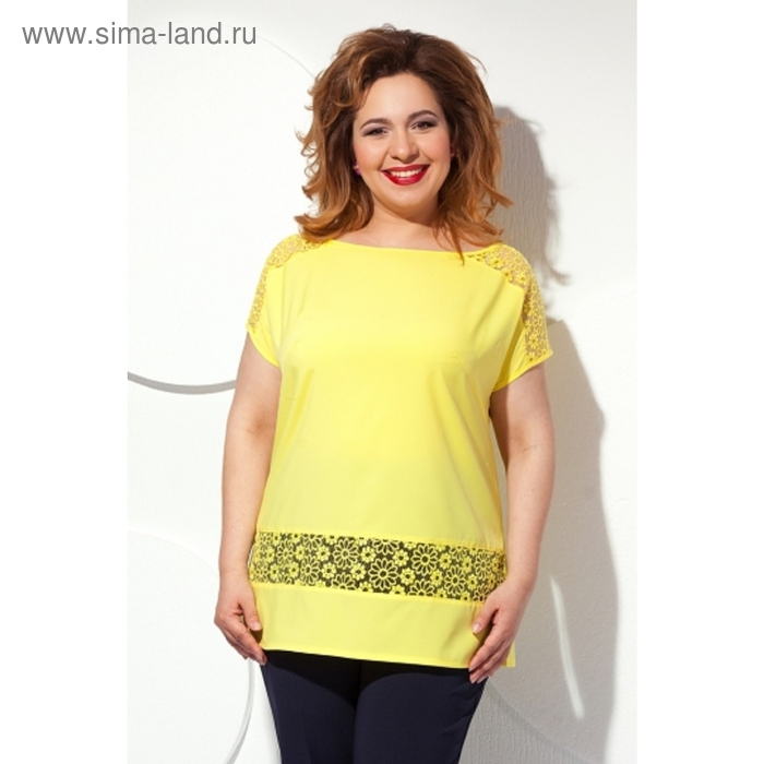 Блуза с короткими рукавами, размер 56, цвет жёлтый Б-151/2