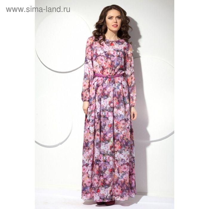 Платье женское, размер 54, цвет цветочный принт П-426
