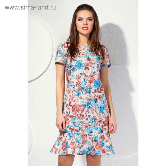 Платье женское, размер 56, цвет бежевый+цветочный принт П-416
