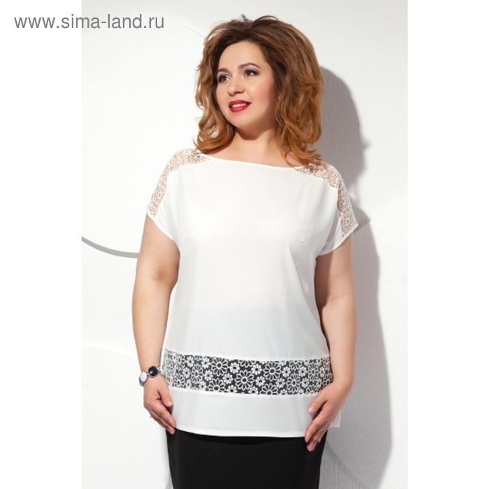 Блуза с короткими рукавами, размер 64, цвет белый Б-151/3