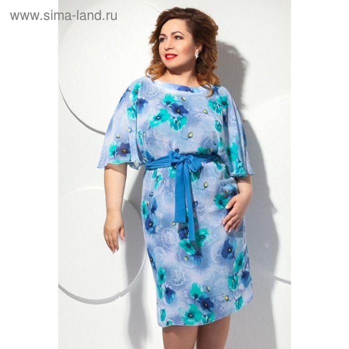 Платье женское, размер 56, цвет голубой П-427