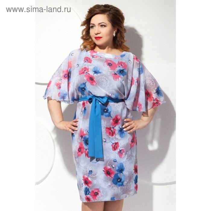 Платье женское, размер 54, цвет цветочный принт П-427/1