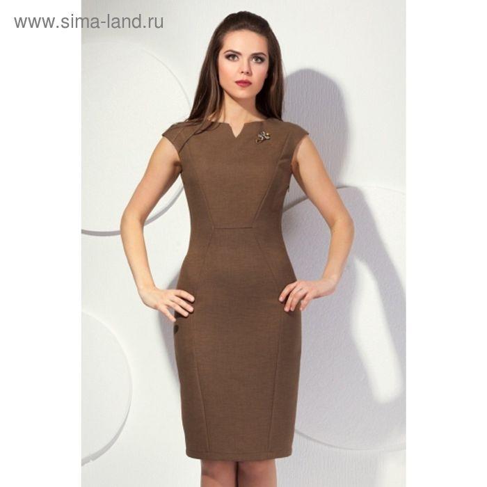 Платье женское, размер 52, цвет коричневый П-417/2