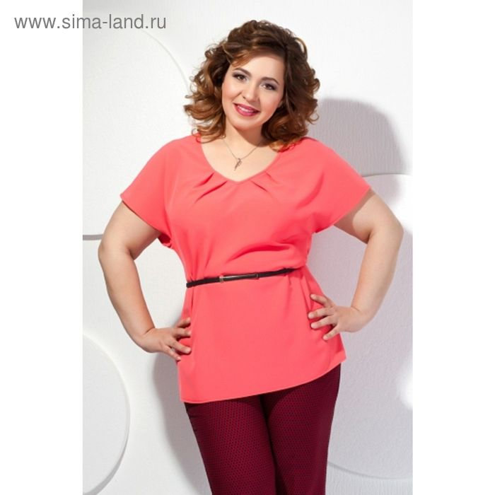 Блуза женская, размер 62, цвет коралловый Б-148/2