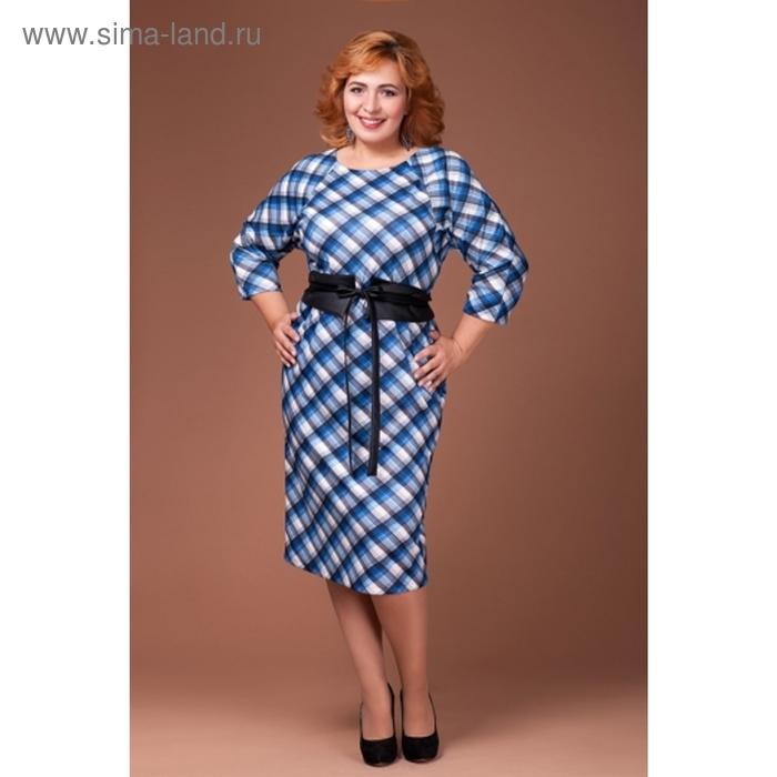 Платье женское, размер 54, цвет синий П-314/3