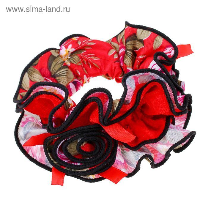 """Резинка для волос """"Орбита"""", с розой, чёрный кант, цветы, микс"""