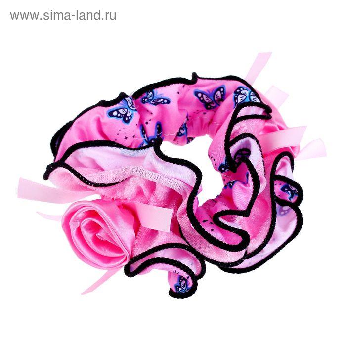 """Резинка для волос """"Орбита"""", с розой, чёрный кант, бабочки, микс"""