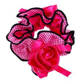 """Резинка для волос """"Орбита"""", с розой, чёрный кант, клетка, микс"""