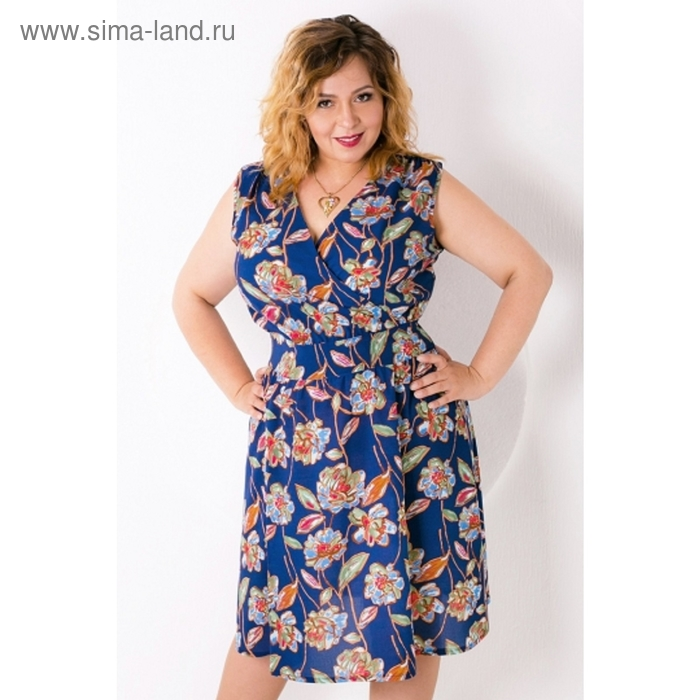 Платье женское, размер 50, цвет синий П-360