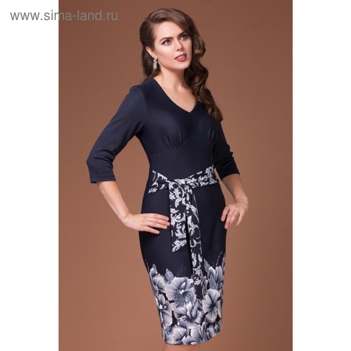 Платье женское, размер 46, цвет тёмно-синий+белый П-382