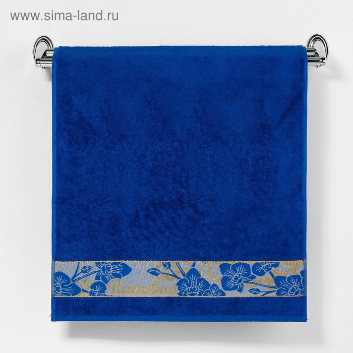 """Полотенце махровое """"Этель"""" Bamboo Blossom, синий 70*140 см бамбук, 450 г/м2"""