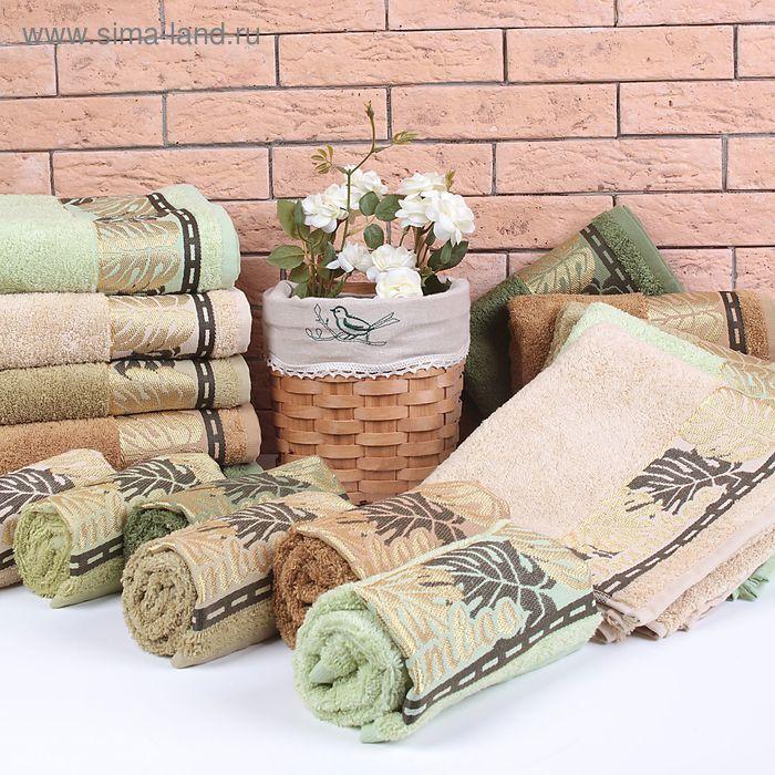 """Полотенце махровое """"Этель"""" Flabello, нефритовый 70*140 см бамбук, 450 г/м2"""