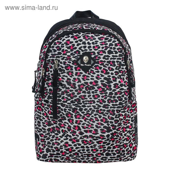 Рюкзак молодёжный на молнии, 2 отдела, наружный карман, чёрный/леопардовый