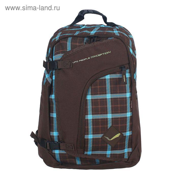 Рюкзак молодёжный на молнии, 2 отдела, наружный карман, коричневый/клетка