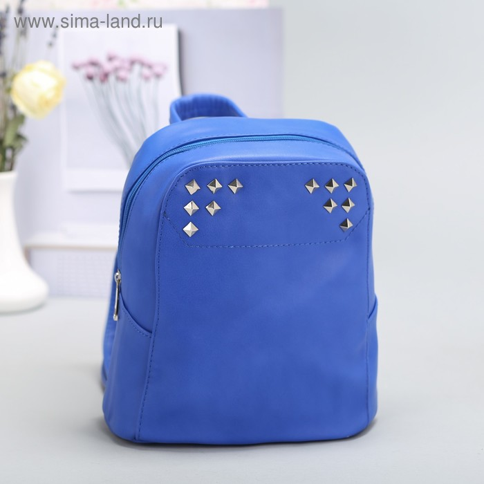 Рюкзак на молнии, 1 отдел, наружный карман, синий