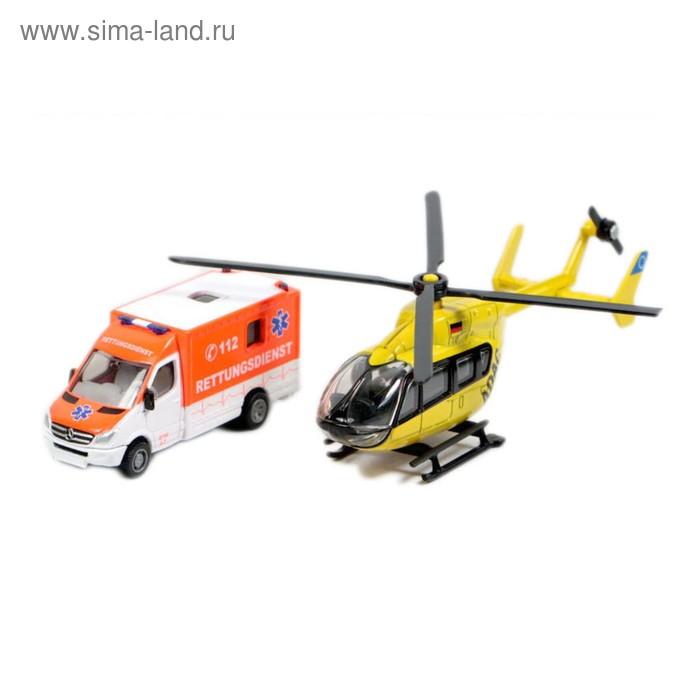 """Набор Siku """"Скорая помощь фургон и вертолет"""", масштаб 1:87"""