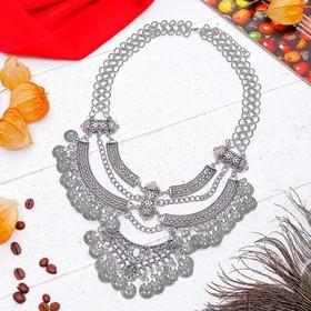"""Колье """"Эльфийское"""" плетение, цвет черненое серебро"""