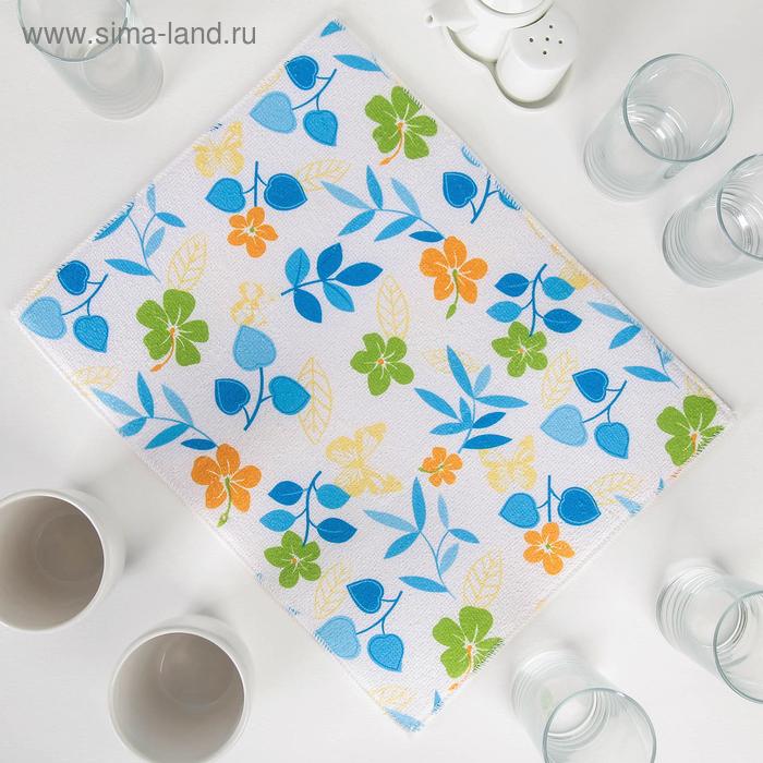 """Коврик для сушки посуды 38х50 см """"Полевые цветочки"""", цвет голубой"""
