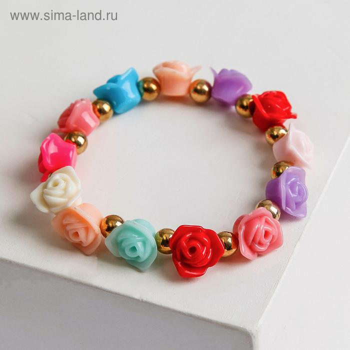 """Браслет пластик """"Цветы"""" розы, цветной"""