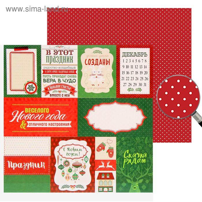 """Бумага для скрапбукинга  Cristmas diary """"Зимние деньки созданы для радости""""30.5 x 30.5 см, 180 г/м"""