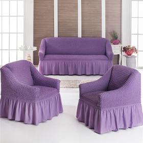 Чехол для мягкой мебели DO&CO DIVAN KILIFI 3-х предметный, лиловый, п/э