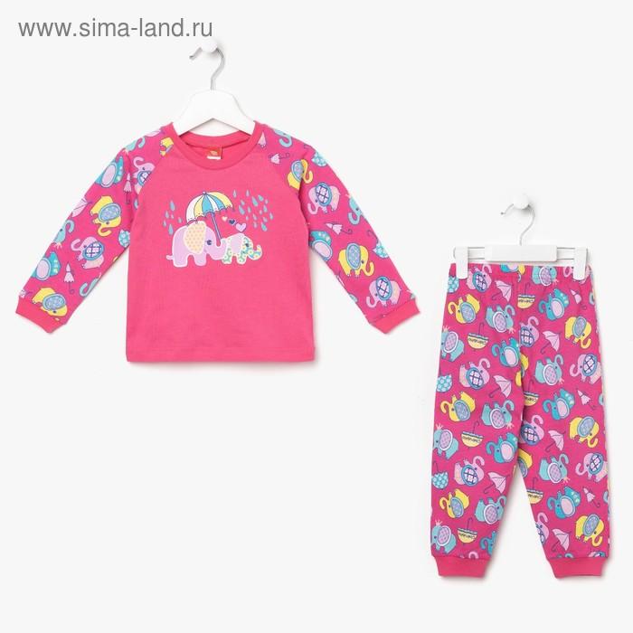 Пижама для девочки, рост 92 см (56), цвет фуксия, принт слоники (арт. CAB 5241_М)