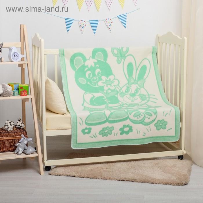 """Одеяло байковое детское хлопчатобумажное """"Ермошка"""", цвет зелёный, жаккард, размер 132х100 см, 470 г/м2, принт микс"""