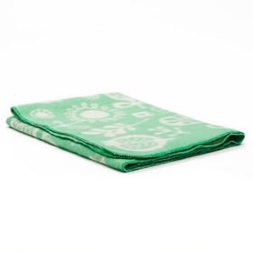 """Одеяло байковое детское хлопчатобумажное """"Ермошка"""", цвет зелёный, жаккард, размер 118х100 см, 470 г/м2, принт микс"""