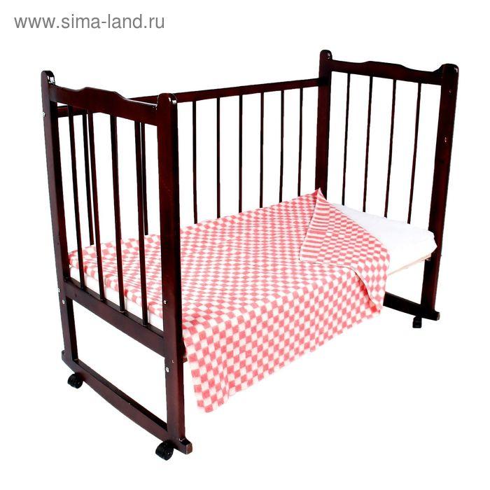 """Одеяло байковое детское хлопчатобумажное """"Ермошка"""", цвет розовый, клетка, размер 140х100 см, 470 г/м2, принт микс"""