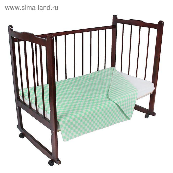 """Одеяло байковое детское хлопчатобумажное """"Ермошка"""", цвет зелёный, клетка, размер 112х90 см, 470 г/м2, принт микс"""