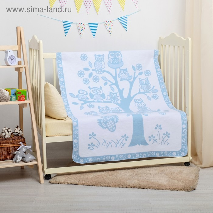 """Одеяло байковое детское хлопчатобумажное """"Ермошка"""", цвет голубой, жаккард, размер 140х100 см, 470 г/м2, принт микс"""