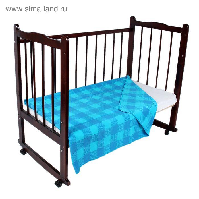 """Одеяло байковое детское хлопчатобумажное """"Ермошка"""", цвет голубой, клетка, размер 118х100 см, 470 г/м2, принт микс"""
