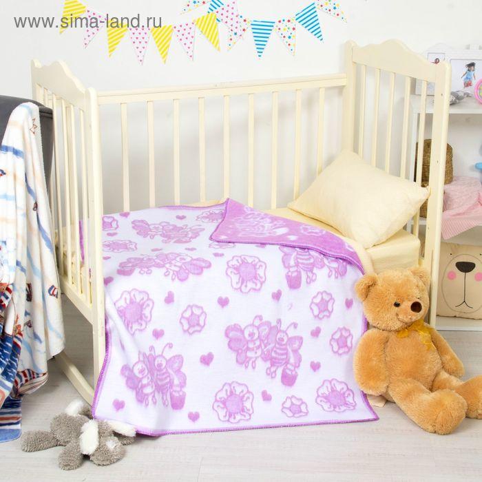"""Одеяло байковое детское хлопчатобумажное """"Ермошка"""", цвет голубой, жаккард, размер 118х100 см, 470 г/м2, принт микс"""