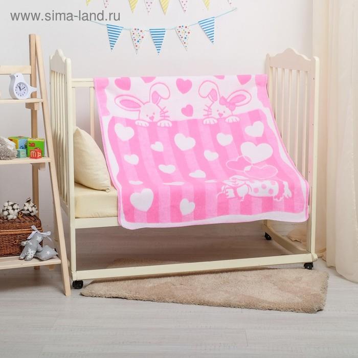 """Одеяло байковое детское хлопчатобумажное """"Ермошка"""", цвет розовый, жаккард, размер 118х100 см, 470 г/м2, принт микс"""