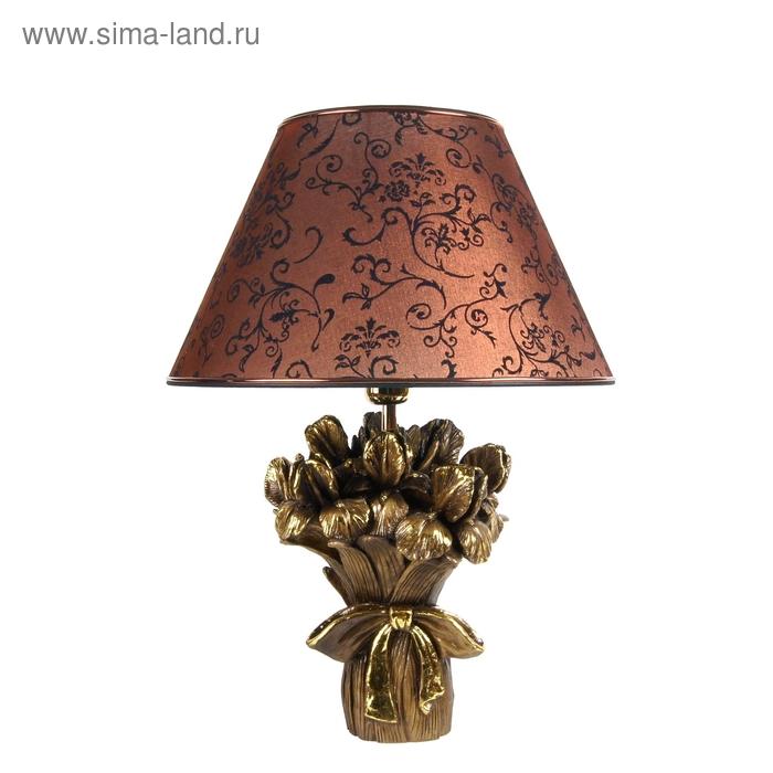 """Настольная лампа """"Букет ирисов"""", коричневый"""