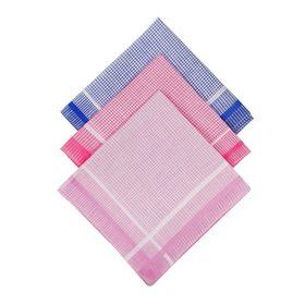 Платки носовые женские Клетка жаккард 28*28 см, 12 шт, цвета МИКС 100% хлопок