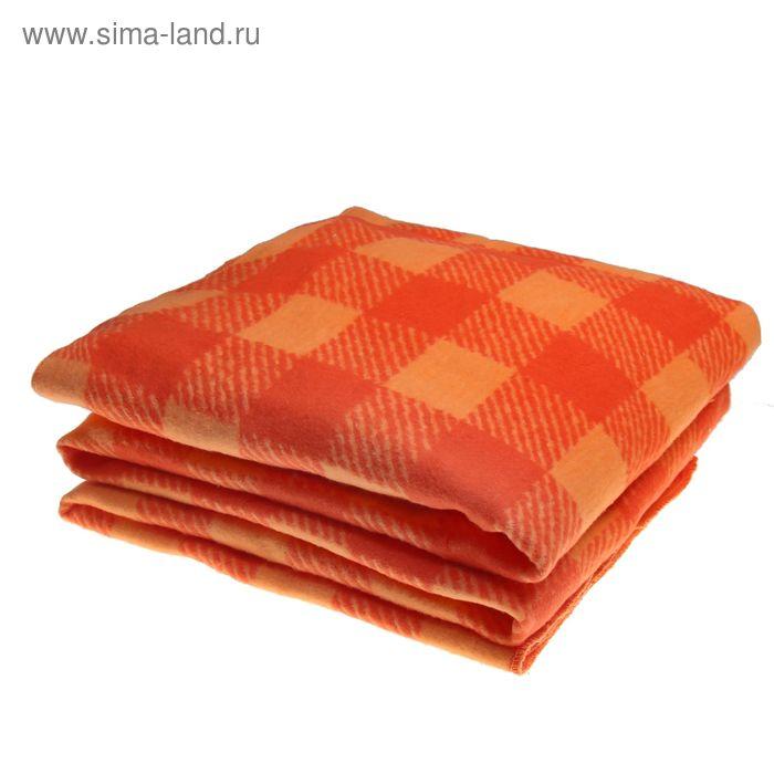 Одеяло байковое хлопчатобумажное, цвет красный, клетка, размер 212х150 см, 470 г/м2, принт микс
