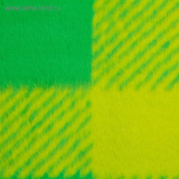 Одеяло байковое хлопчатобумажное, цвет зелёный, клетка, размер 212х150 см, 470 г/м2, принт микс