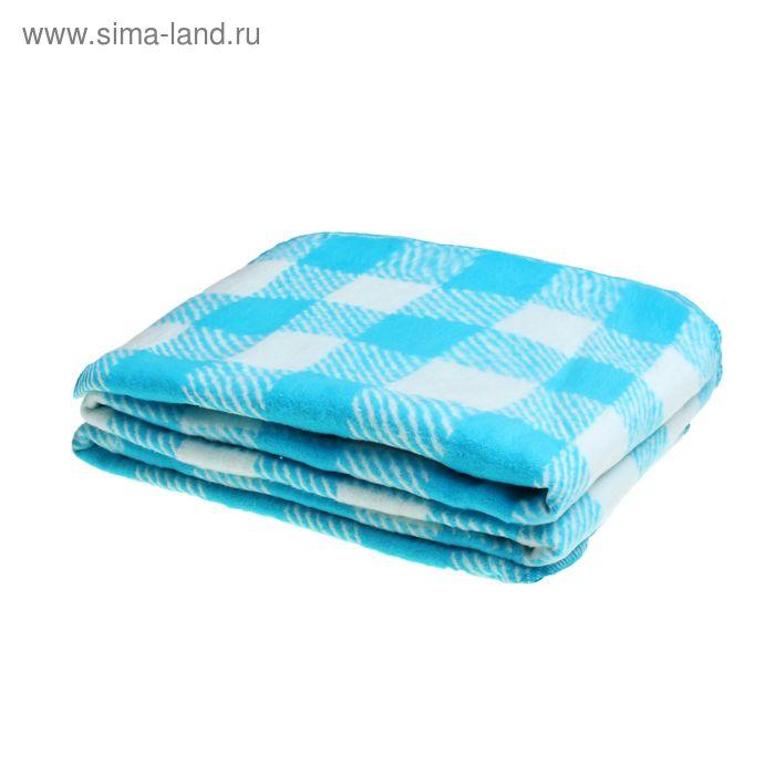 Одеяло байковое хлопчатобумажное, цвет голубой, клетка, размер 212х150 см, 470 г/м2, принт микс